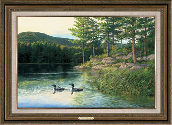 Morning Memories Loons Framed Canvas Art Print Wall Art