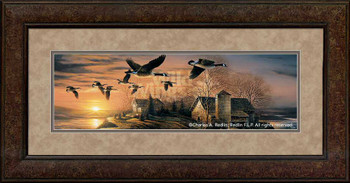 Sundown Canada Geese Premium Framed Horizon Art Print Wall Art