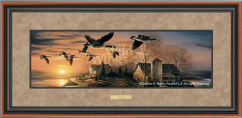 Sundown Canada Geese Deluxe Walnut Framed Horizon Art Print Wall Art