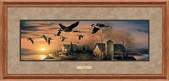 Sundown Canada Geese Deluxe Oak Framed Horizon Art Print Wall Art