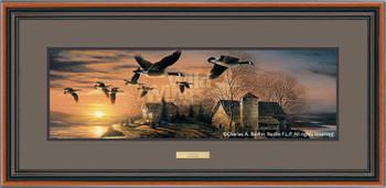 Sundown Canada Geese Walnut Framed Horizon Art Print Wall Art