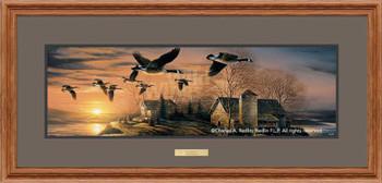 Sundown Canada Geese Oak Framed Horizon Art Print Wall Art