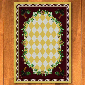 4' x 5' High Country Rooster Yellow Rectangle Rug