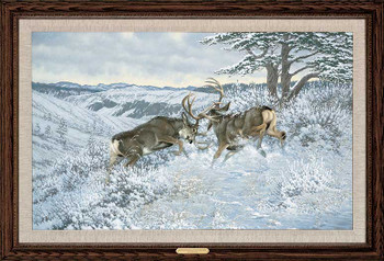 Battling Bucks Mule Deer Framed Canvas Giclee Art Print Wall Art