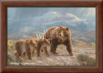 Under the Sleeping Giant Grizzly Bears Framed Canvas Giclee Wall Art