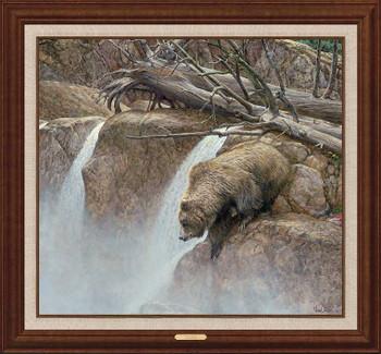 Goin' Fishin' Grizzly Bear Framed Canvas Giclee Art Print Wall Art