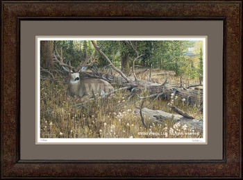 Blow Down Buck Mule Deer Framed Art Print Wall Art