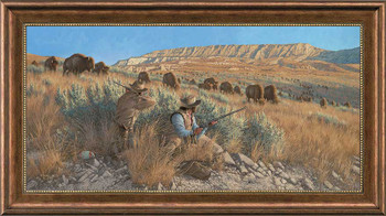 The Buffalo Hunters Framed Canvas Giclee Art Print Wall Art