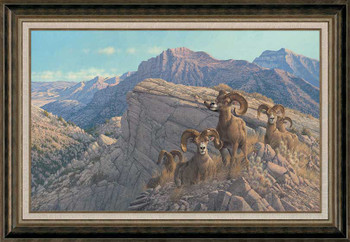 Desert Kings Bighorn Rams Framed Canvas Giclee Art Print Wall Art
