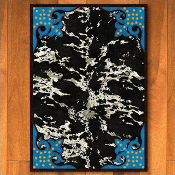 4' x 5' Fancy Cowhide Turquoise Western Rectangle Rug