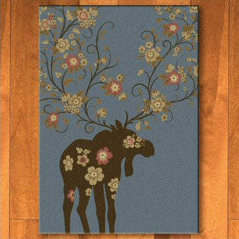 4' x 5' Abstract Moose Blossom Blue Wildlife Rectangle Rug
