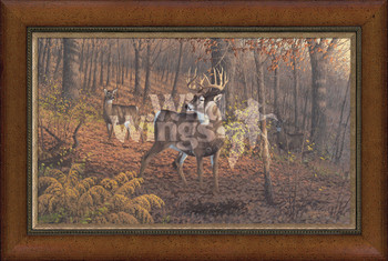 Fall Rut Whitetail Deer Framed Canvas Giclee Art Print Wall Art