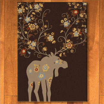 4' x 5' Abstract Moose Blossom Chocolate Wildlife Rectangle Rug