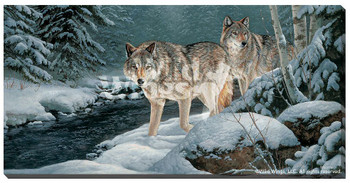 Along the Creek Wolves Wrapped Canvas Giclee Print Wall Art