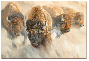 Dust of Time Bison Wrapped Canvas Giclee Print Wall Art
