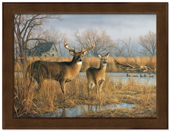 Small Our Side of River Deer Framed Canvas Art Print Wall Art