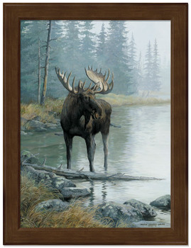 Small Quiet Water Moose Framed Canvas Art Print Wall Art