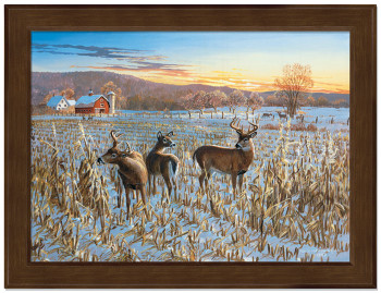 Small Winter Sunrise Deer Framed Canvas Art Print Wall Art
