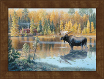 Large The Loner Moose Framed Canvas Art Print Wall Art