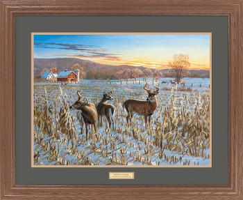 Large Winter Sunrise Deer Framed Canvas Art Print Wall Art