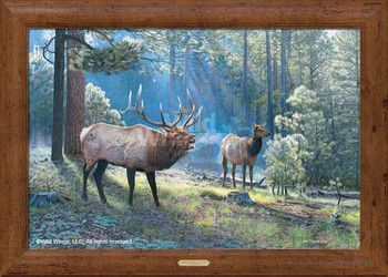 Spirited Exchange Elk Scene Framed Canvas Giclee Art Print Wall Art