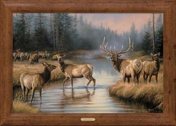 Autumn Mist Elk Framed Canvas Art Print Wall Art
