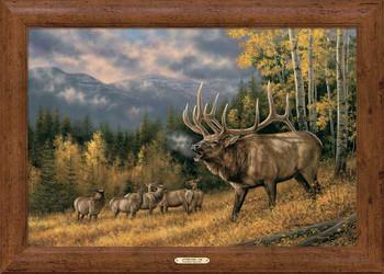 Autumn Song Elk Framed Canvas Art Print Wall Art