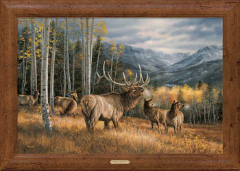 Meadow Music Elk Framed Canvas Art Print Wall Art