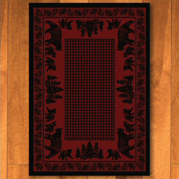 4' x 5' Bear Family Red Wildlife Rectangle Rug