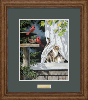 Curtain Call Cats Watching Cardinal Birds Framed Art Print Wall Art