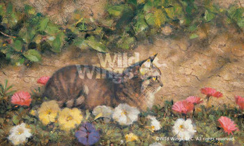 In the Garden Cat Art Print Wall Art