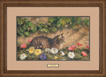 In the Garden Cat Framed Art Print Wall Art