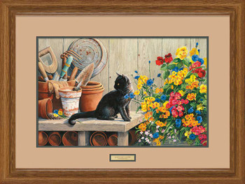 Gardener's Helper Cat Framed Art Print Wall Art