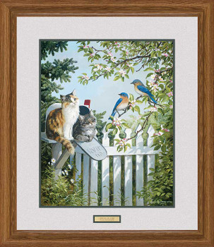 Special Delivery Cats and Bluebirds Framed Art Print Wall Art