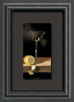 Icy Cold Martini with Lemon Float Mount Framed Art Print Wall Art