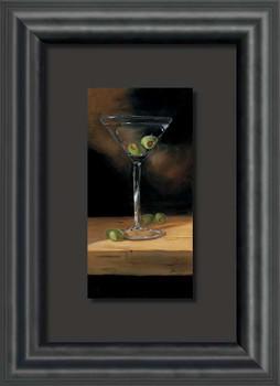 Crisp Cocktail Martini with Olives Float Mount Framed Art Print