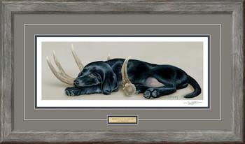 Rack 'Em Up Black Lab Puppy Framed Art Print Wall Art