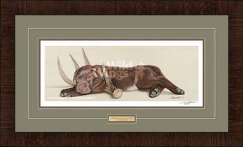 Rack 'Em Up Chocolate Lab Puppy Framed Art Print Wall Art