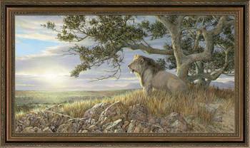 Morning Glory Lion Framed Canvas Giclee Art Print Wall Art