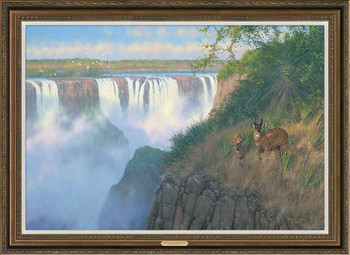 Victoria Falls Bush Buck Framed Canvas Giclee Art Print Wall Art
