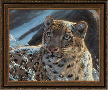 Snow on Snow - Snow Leopard Framed Canvas Giclee Art Print Wall Art