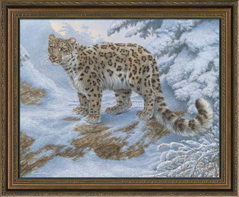 Snow Flurries Snow Leopard Framed Canvas Giclee Art Print Wall Art