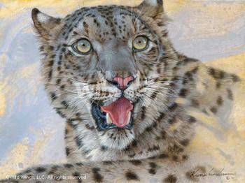 Snow Leopard Canvas Giclee Art Print Wall Art