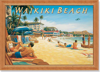 Vintage Waikiki Beach Framed Travel Poster Art Print Wall Art