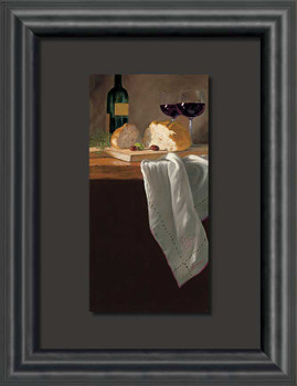 Savoring the Day Wine & Bread Float Mount Framed Art Print Wall Art