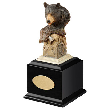Personalized Handful Black Bear Award Sculpture on Black Wood Base