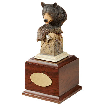 Personalized Handful Black Bear Award Sculpture on Brown Wood Base