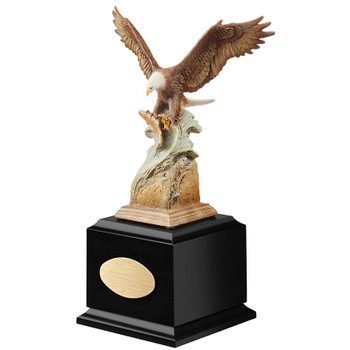 Personalized Splash Down Eagle Bird Award Sculpture on Black Wood Base