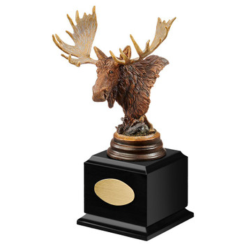 Personalized Twig Eater Moose Award Sculpture on Black Wood Base