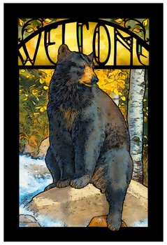 The Paws That Refreshes Black Bear Stained Glass Welcome Wall Art